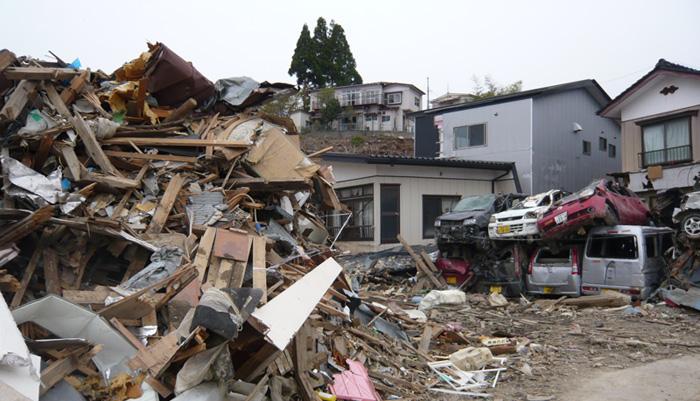 5月3日に訪問した気仙沼の住宅街の被害の様子